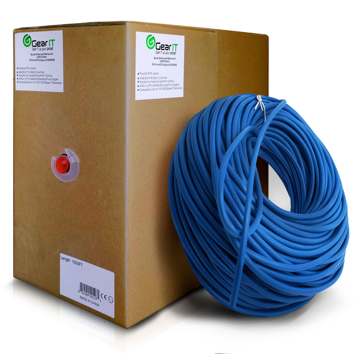 GearIT Cat5e Ethernet Cable Bulk 1000 Feet - Cat 5e 350Mhz 24AWG Full Copper Wire UTP Pull Box - In-Wall Rated (CM) Stranded Cat5e, Blue