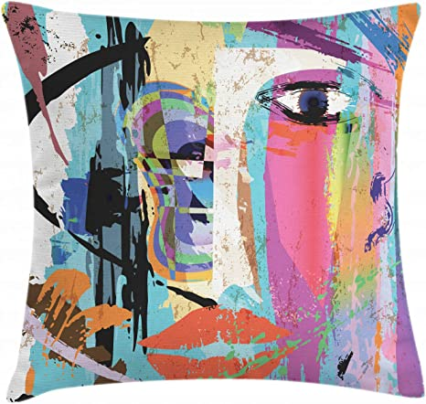 Amazon Com Ambesonne Abstract Throw Pillow Cushion Cover Woman Face Art Composition With Paint Strokes And Splashes Eye Red Lips Grungy Decorative Square Accent Pillow Case 16 X 16 Blue Rainbow Home