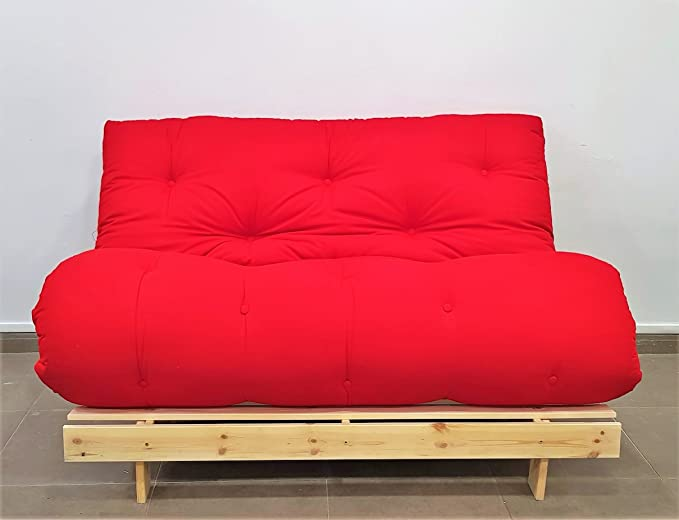 Sofá Cama Roots, Natural, Futon Rojo, 140x103x80 cm.