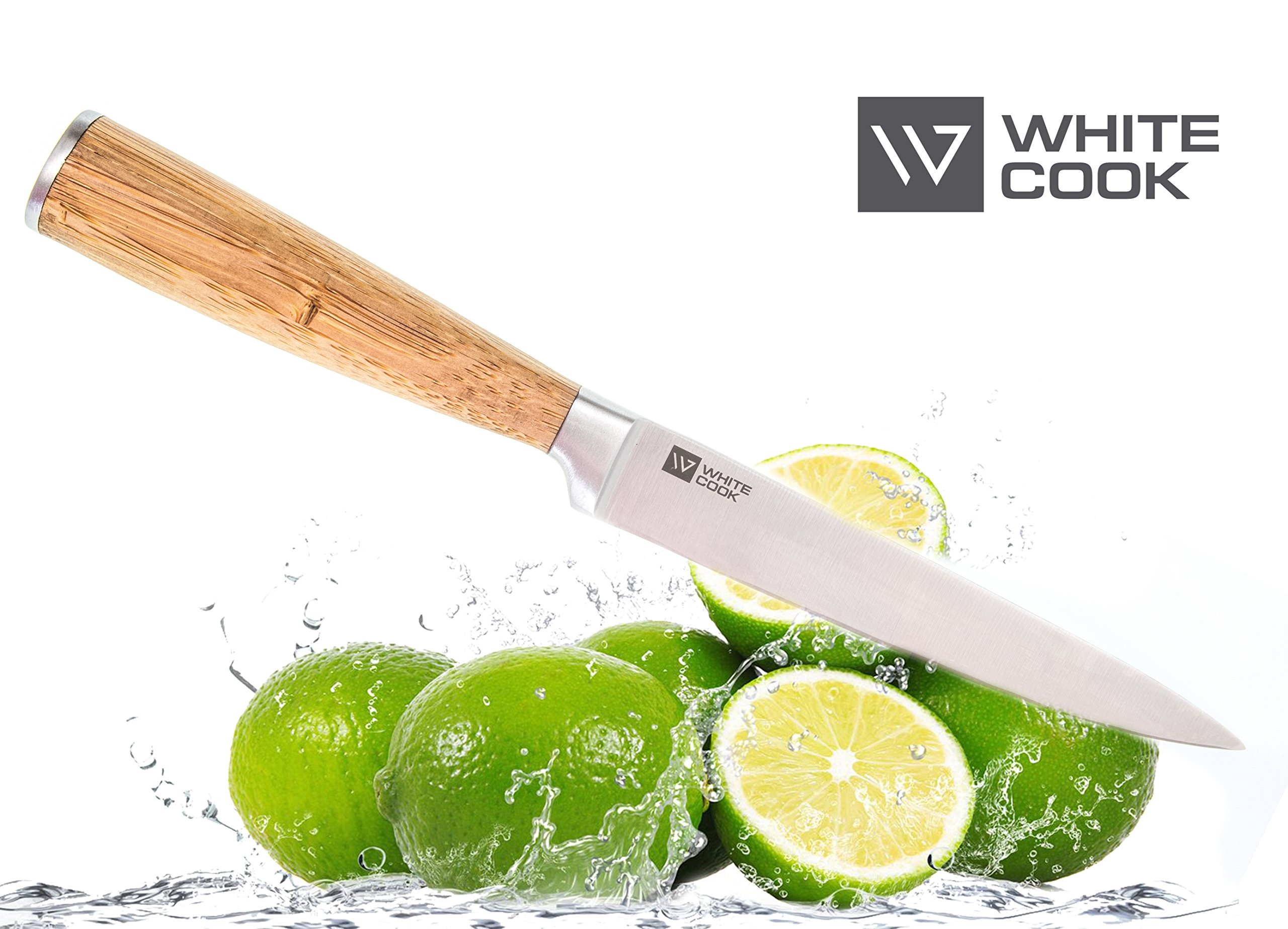 Kitchen Utility Knife 5-inch - Wood Bamboo Handle – Cooking Knives with Super Natural Value - Small Kitchen Knife for Cutting Sandwiches Cooking Fillet Fish Knife - Cutlery Knives Full Tang