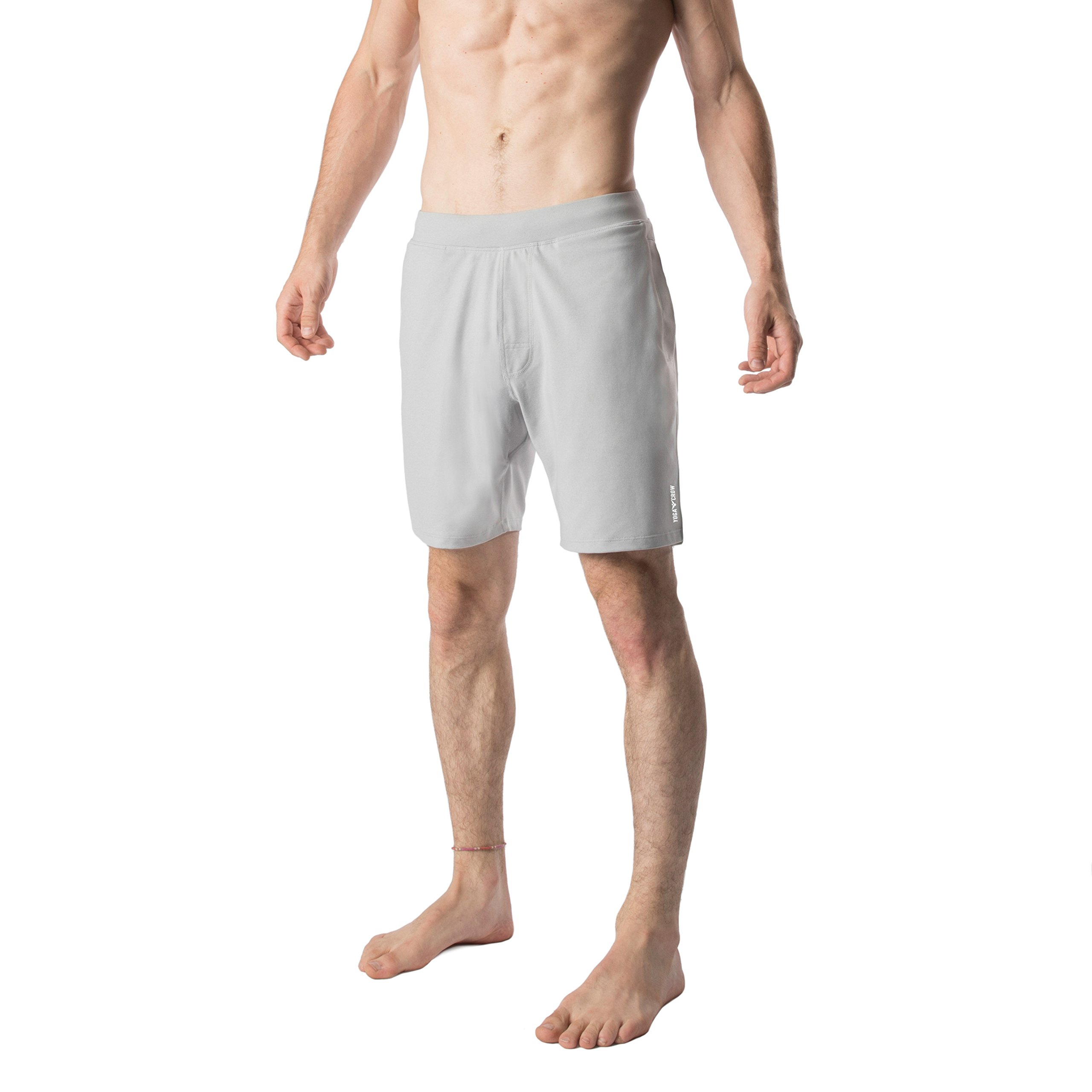 Yoga Crow Mens Swerve Shorts w/Odor-Resistant Inner Liner (Light Grey, X-Small)