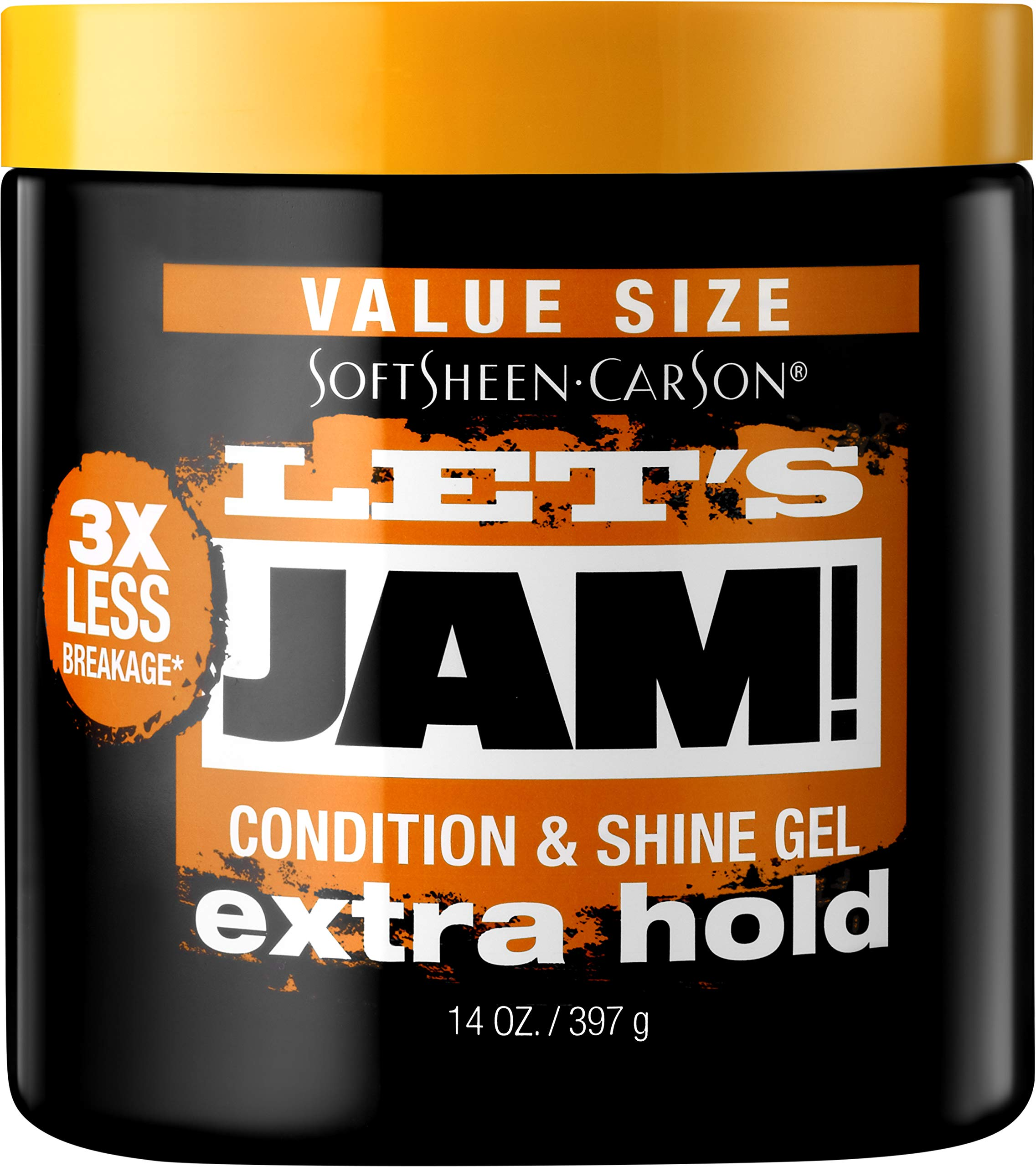SoftSheen-Carson Let's Jam! Shining and Conditioning Hair Gel by Dark and Lovely, Extra Hold, All Hair Types, Styling Gel Great for Braiding, Twisting & Smooth Edges, Extra Hold, 14 oz