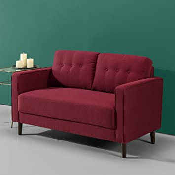 Zinus Mikhail Mid-Century Upholstered 52.8 Inch Sofa Couch / Loveseat, Ruby  Red Weave
