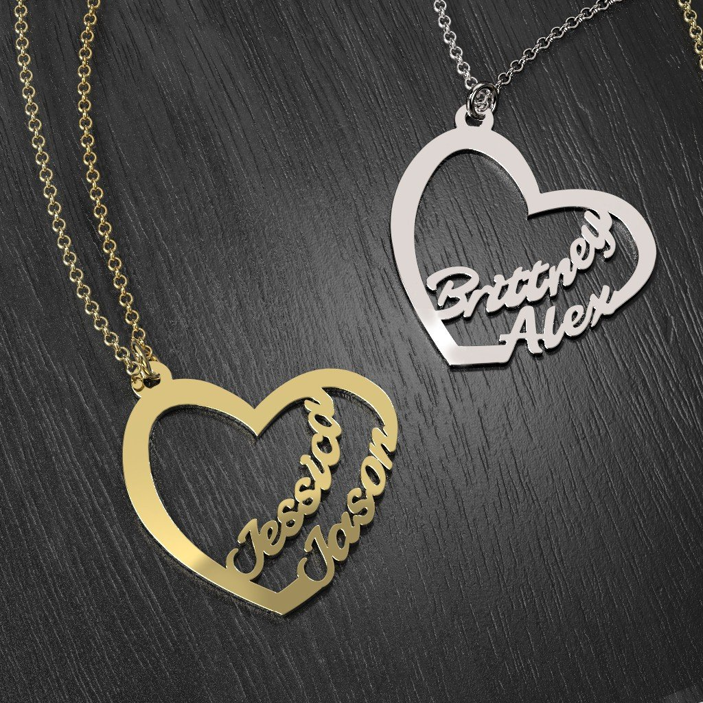 Silver Written With Love Heart Duo Name Necklace by JEWLR