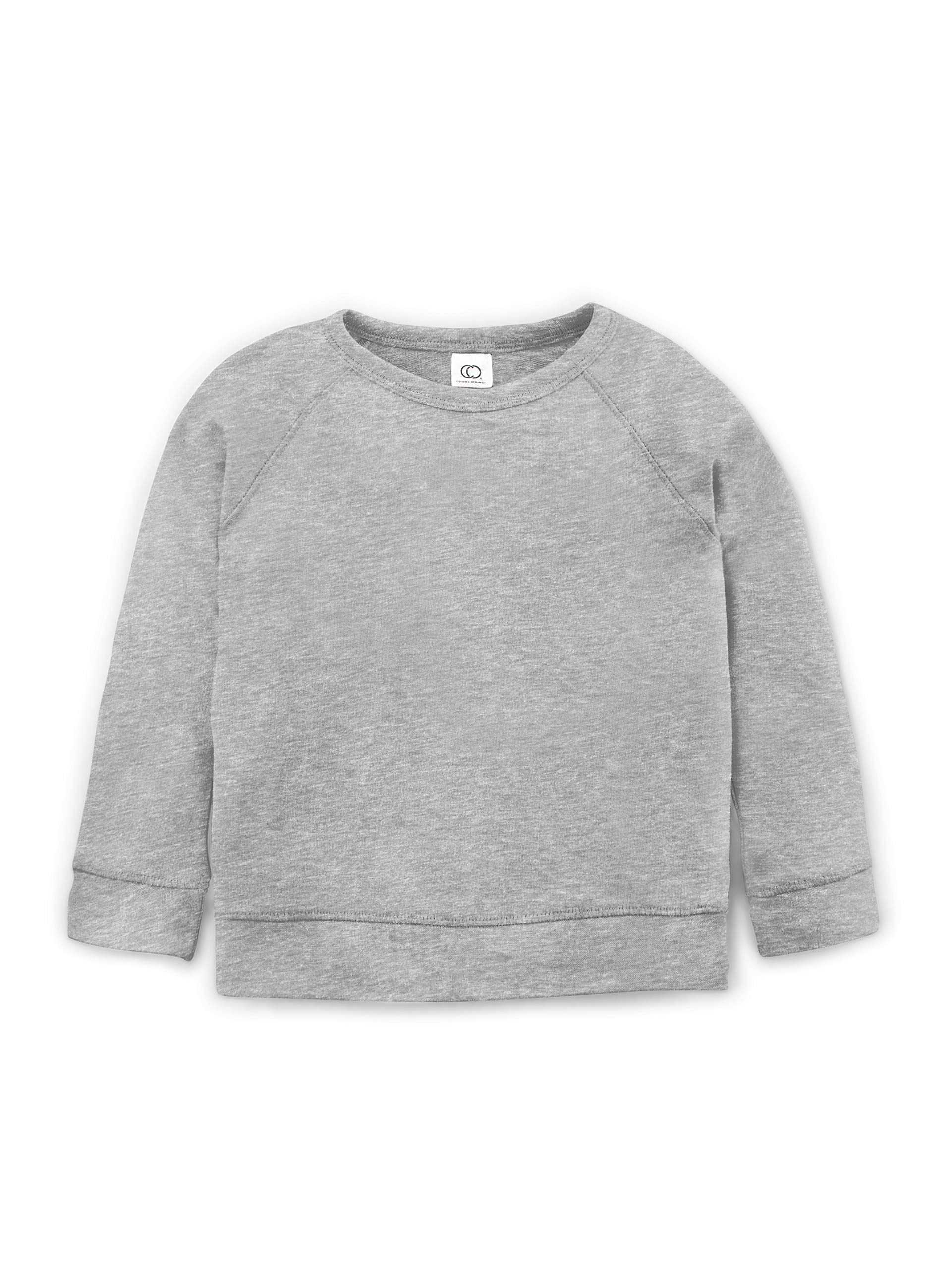 Colored Organics Long Sleeve Organic Cotton Pullover for Toddlers & Kids - Heather Grey - 2T