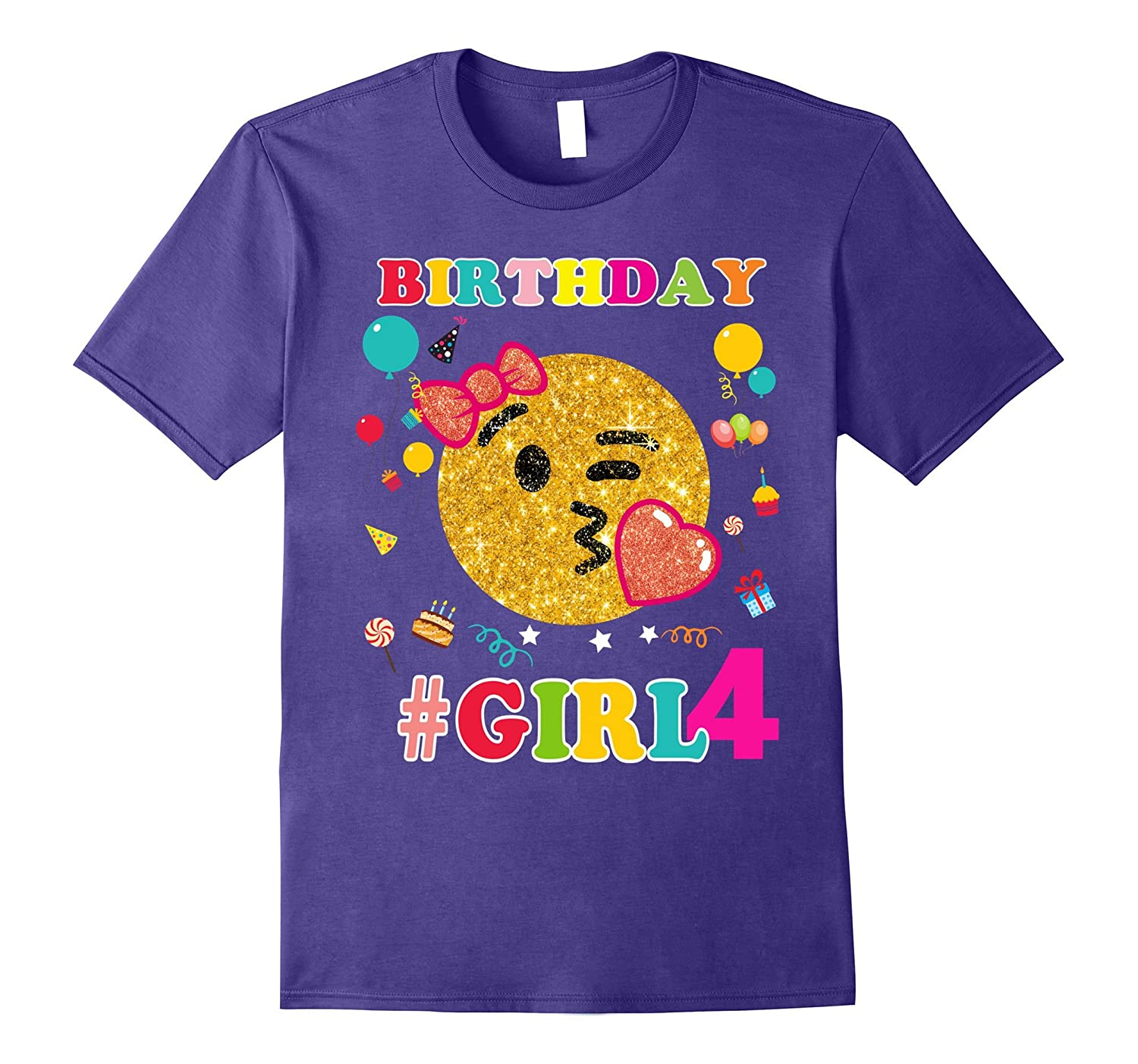 4th Birthday Girl Shirt Emoji Birthday-Art