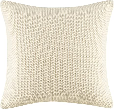 Amazon Com Ink Ivy Bree Cable Knit Euro Décor Throw Pillow Cover Casual Square Decorative Pillow Case For Sofa Bed Outdoor Chair 20x20 Ivory Home Kitchen