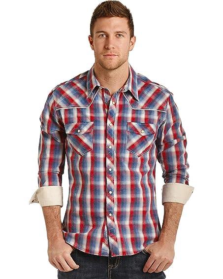Rock & Roll Cowboy Men's And Poplin Plaid Long Sleeve Snap Shirt Red/White/