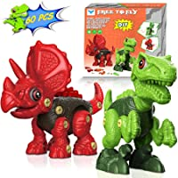 Take Apart Dinosaur Toys for Kids: 2 Pack Dino Set with Tools, Green T Rex & Red...