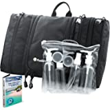 Travel Toiletry Bag Flat Hanging Organizer for Men & Women + Travel Bottles Set, Airplane / TSA approved + eBook for Budget Vacation Tips by FusionTrek