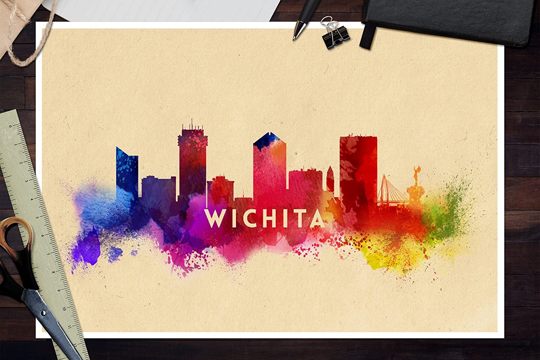 Amazon.com: Wichita, Kansas - Skyline Abstract (12x18 Art Print ...
