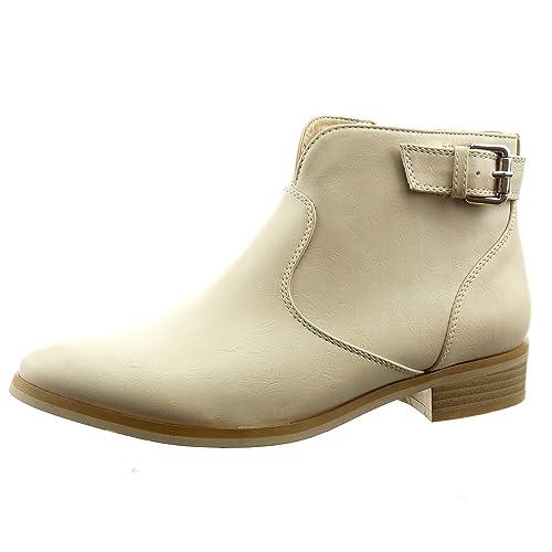Sopily - Zapatillas de Moda Botines cavalier low boots Tobillo mujer cremallera Hebilla Talón Tacón ancho 3 CM - Beige RMX-1-BN-14204 T 41: Amazon.es: ...