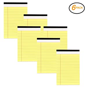 Emraw Canary Jr. Perforated Edge Legal Ruled Junior Size Universal 50 Sheets Writing Pad- Yellow 50 Ct. 5 Inch X 8 Inch (Pack of 6)