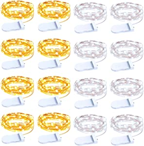 Olafus 16 Pack Fairy Lights Battery Operated, IP68 Mini Firefly String Light Waterproof, 7ft Copper Wire Micro LED Ferry Starry Light for Wedding Party DIY Bedroom Tree Gift Cool White Warm White 2m