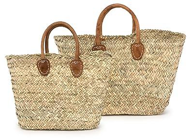 Amazon.com: Bolsa de paja Shopper W/cuero asas marroquí, 19 ...