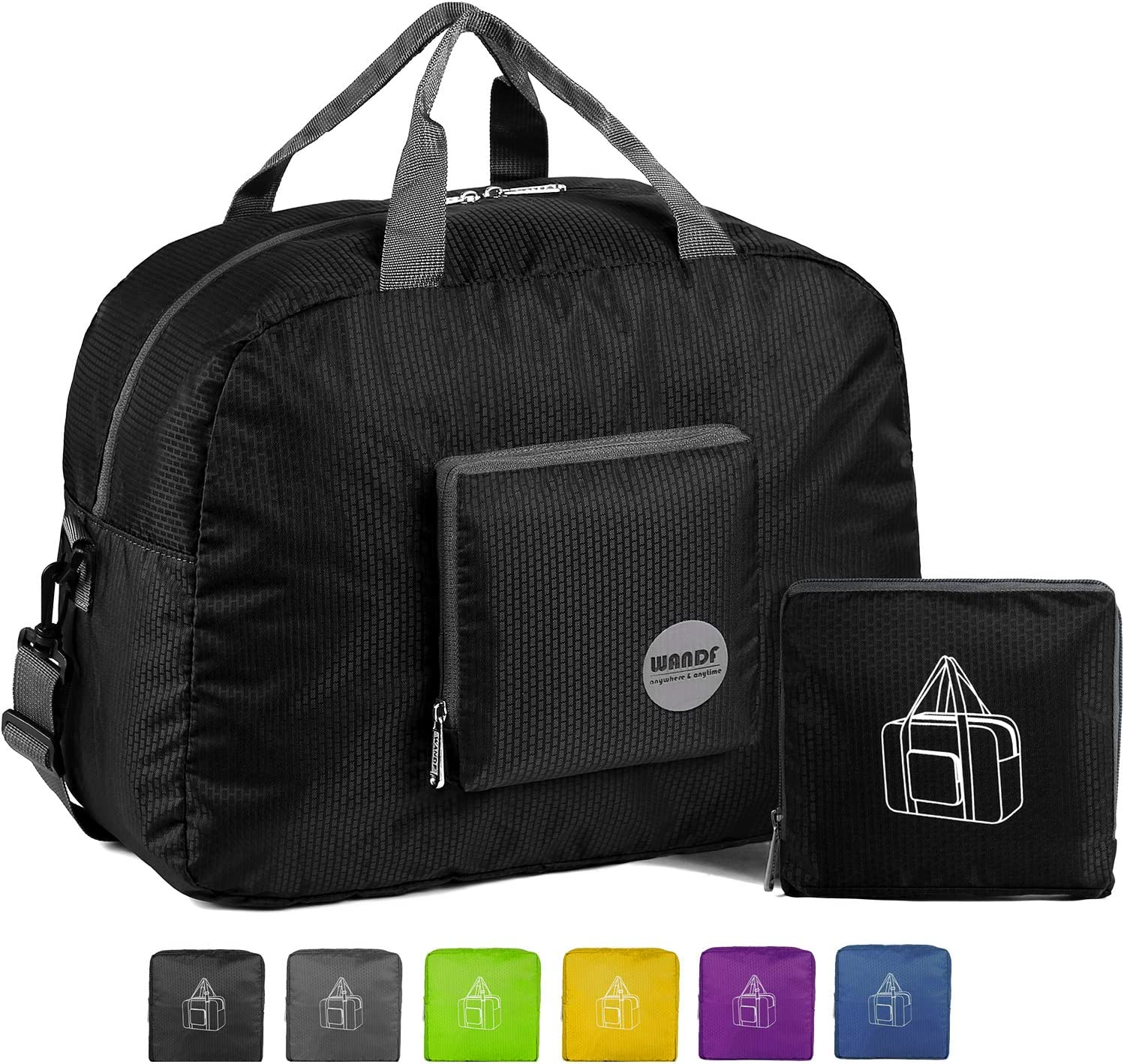 WANDF 16 22 Foldable Duffle Bag 20L 50L for Travel Gym Sports Lightweight Luggage Duffel 10 Color Choices