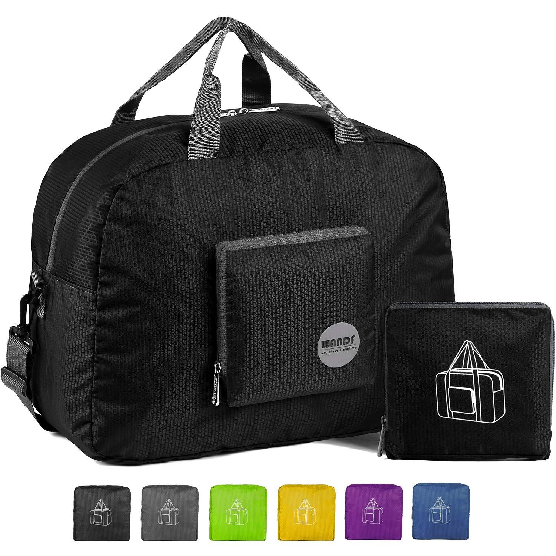 16'' Foldable Duffle Bag 20L for Travel Gym Sports Lightweight Luggage Duffel, Black by WANDF
