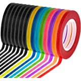 Cridoz 15 Rolls 1/8 Whiteboard Thin Tape Pinstripe Art Tape Dry Erase Board Grid Tape Lines Pinstriping Electrical Marking Ta