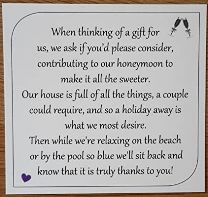 Money Request Poems Square Honeymoon For Wedding Invitations