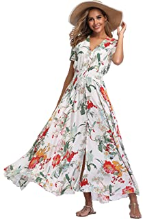 1d59400dcf0 VintageClothing Women s Floral Maxi Dresses Boho Button Up Split Beach  Party Dress