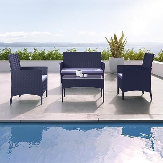 Imora - Conjunto de muebles de jardín, resina trenzada, conjunto 4 plazas que incluye sofá, silla y mesa, color negro y gris: Amazon.es: Jardín