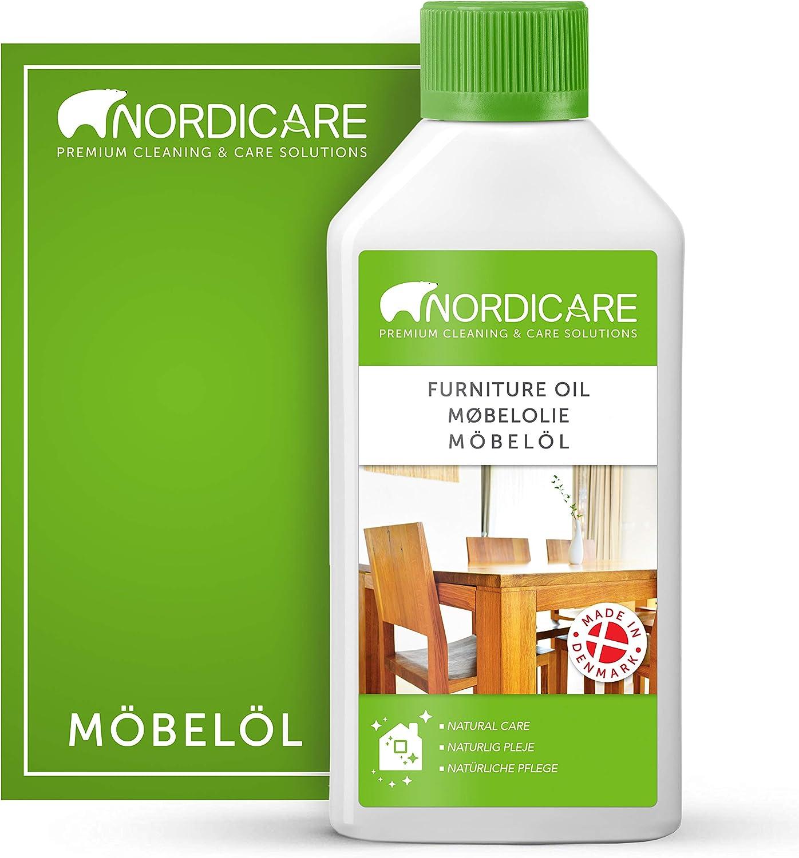 Aceite para madera Nordicare 500ml para el cuidado de los muebles - aceite incoloro para muebles de roble, haya, nogal, alerce - barniz para madera, a base de aceite de linaza