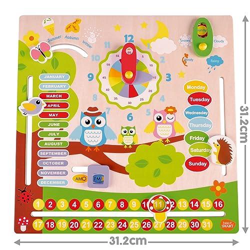 "Bee Smart "" Wooden Calendar Clock Toy Calendar Wooden Toy Calendar For Kids Wall Hanging Calendar Wood And Silk Screen Printing"
