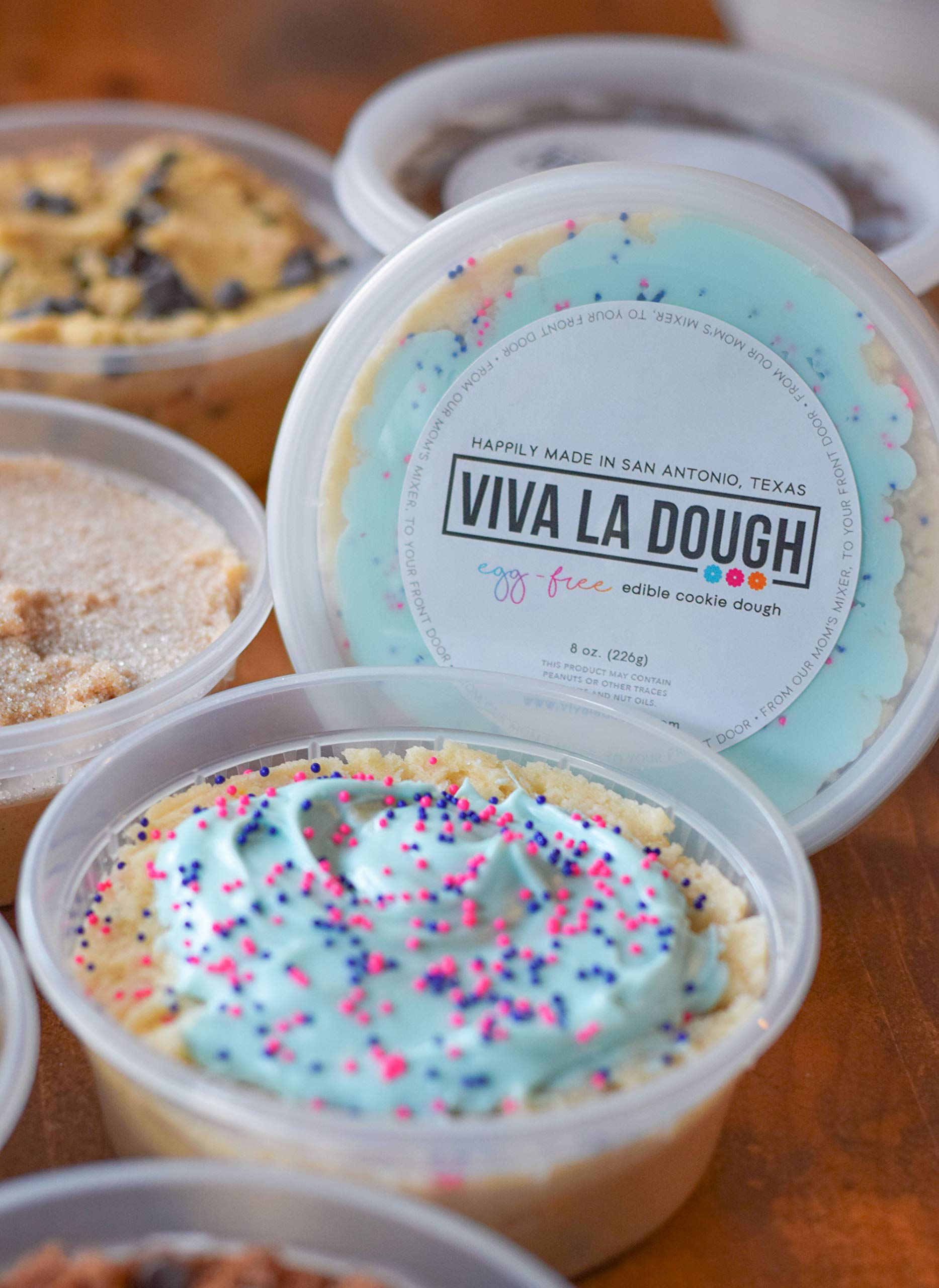 Viva La Dough Edible Cookie Dough - 100% Egg-Free - Birthday Cake (1 Pack - 8oz)