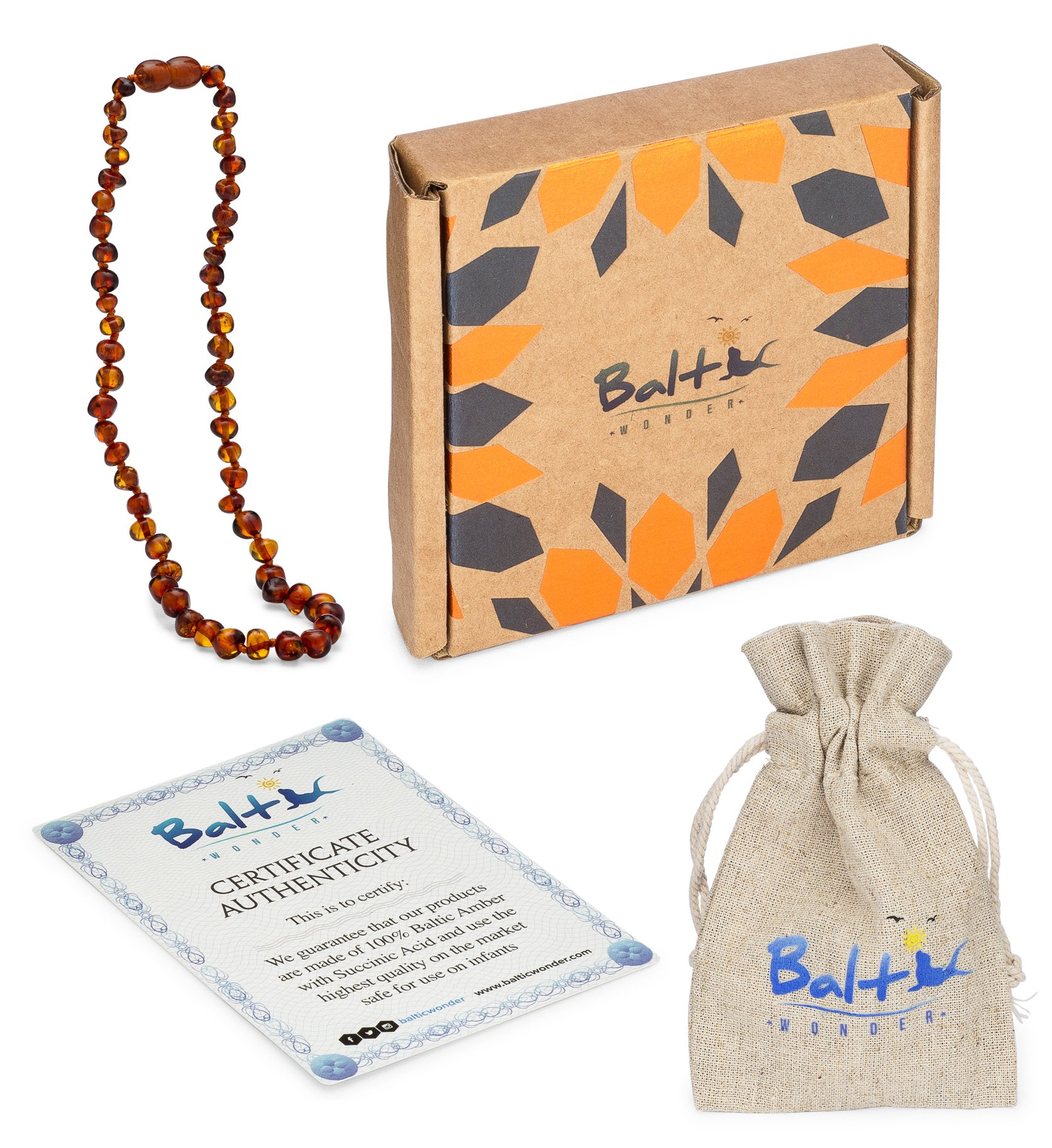 Baltic Amber Teething Necklace For Babies (Unisex) (Cognac) - Anti Flammatory, Drooling & Teething Pain Reduce Properties - Natural Certificated Oval Baltic Jewelry with the Highest Quality Guaranteed by Baltic Wonder (Image #5)