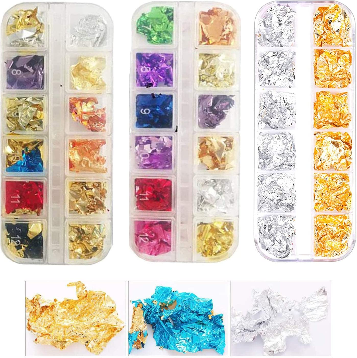 3 Packs Multi-Color Nail Foil Flakes Glitter Leaf Flakes Imitation Gold Metallic Foil Flakes for Painting Arts, Crafts Nails,DIYs,Furniture Decoration
