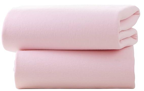 Sábana bajera de algodón ajustable para cochecito (2 unidades), color rosa, de la firma Clair de Lune: Amazon.es: Bebé