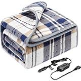 Elantrip12 Volt(8A,45W) Machine Washable Electric Heated Blanket for Car Vehicle Truck SUV, Flannel Heated Travel…