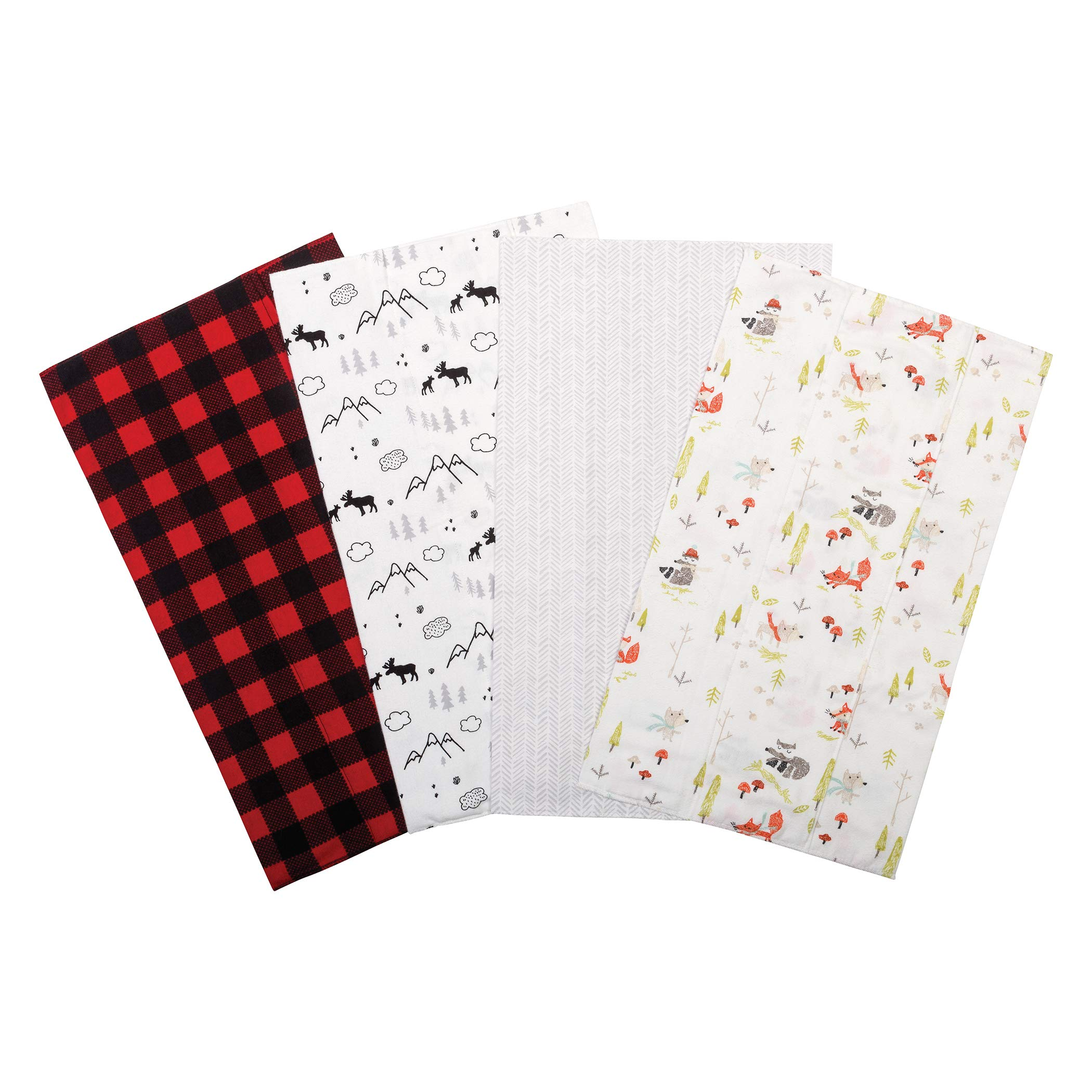 Trend Lab Flannel Burp Cloth Set, Buffalo Check Woodland, (Pack of 4) by Trend Lab