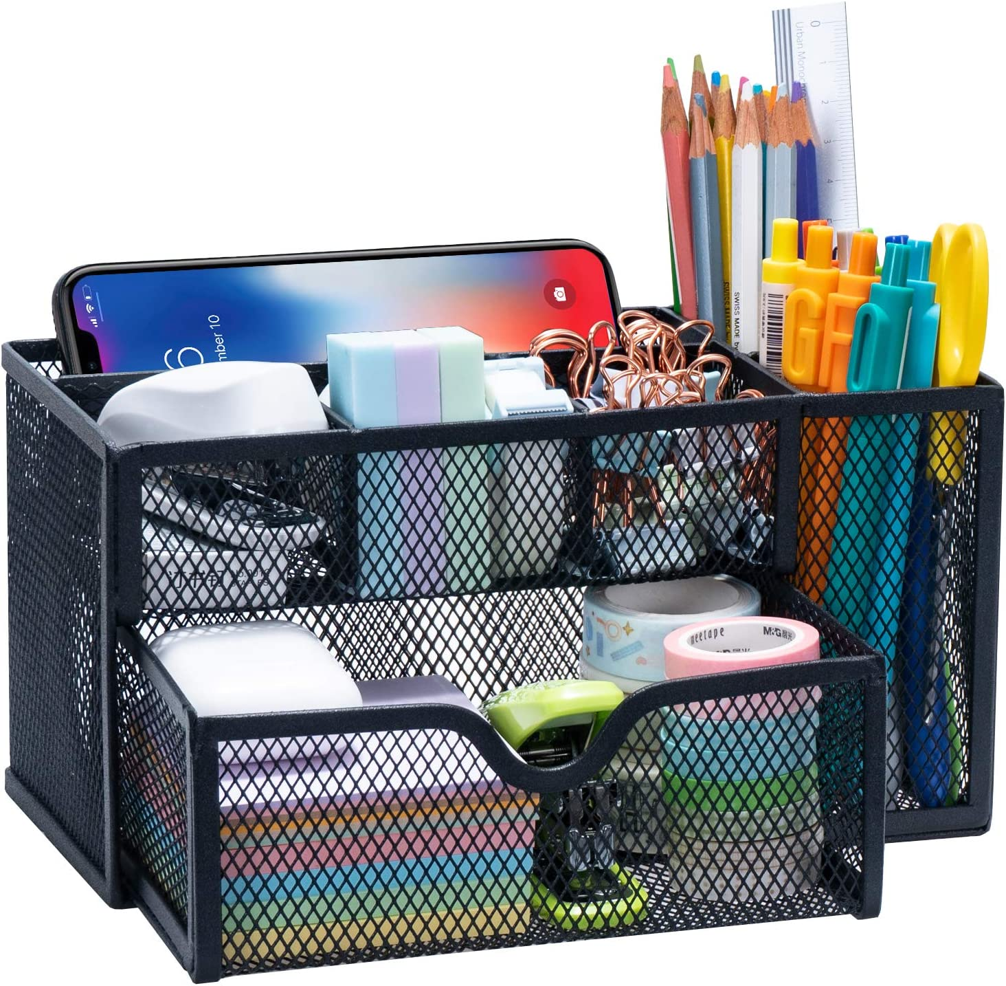 ARCOBIS Black Mesh Desk Organizer Office Supplies Multi-Functional Desktop Caddy Pen Holder Stationery with 6 Compartments and 1 Large Storage Drawer for Office, Home, School, Classroom