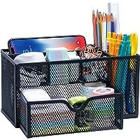 ARCOBIS Black Mesh Desk Organizer Office Supplies Multi-Functional Desktop Pen Holder Organizer with 6 Compartments and…