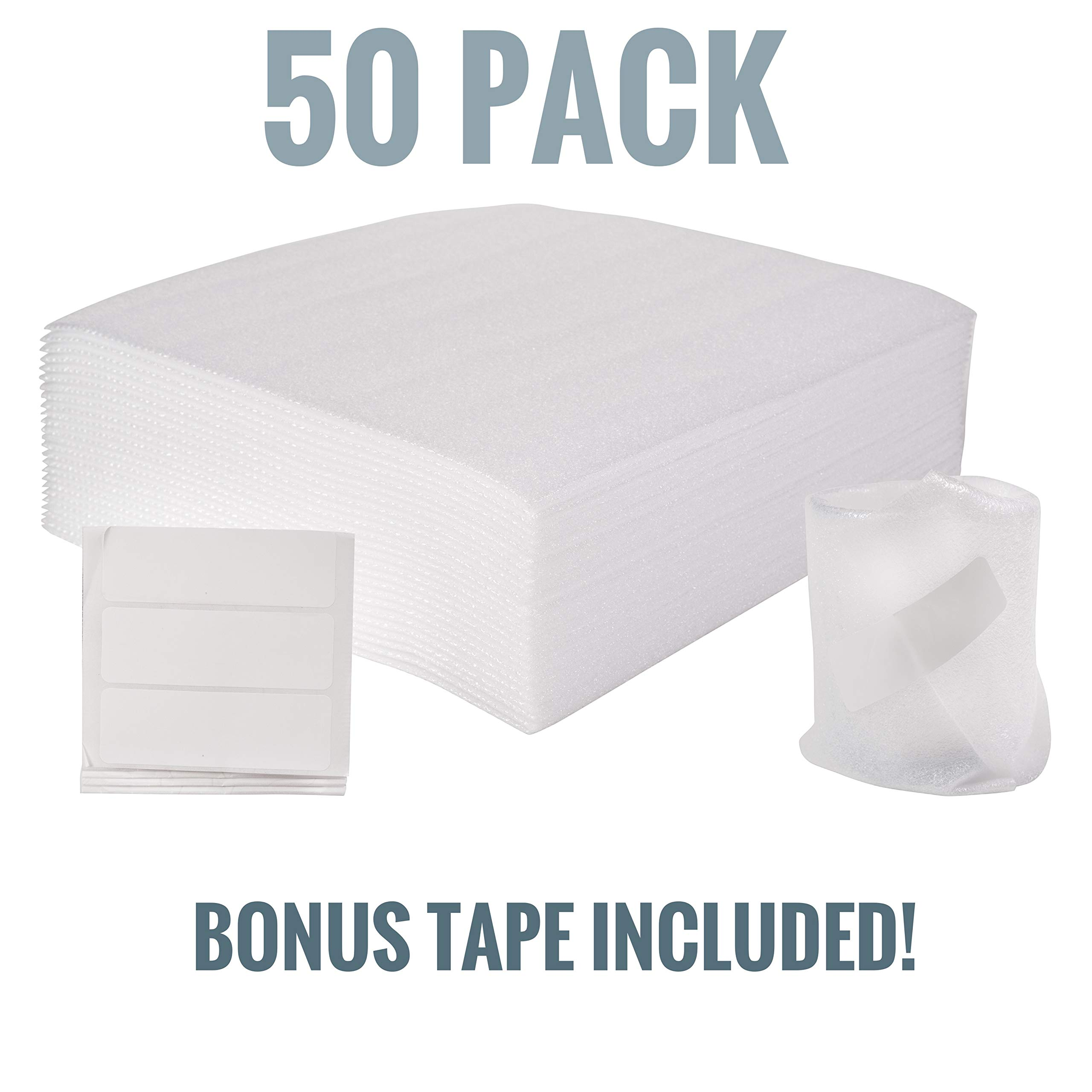 Stella Waves Foam Wrap Sheets 12 x 12 Cushions for Moving, Packing, Storage and Safely Wrapping Dishes, China and Furniture 50-Pack. Bonus Adhesive Tape!