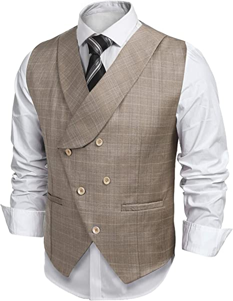 NestYu Mens Slim Fit Plaid V-Neck Wedding Party 3 Button Dress Waistcoat