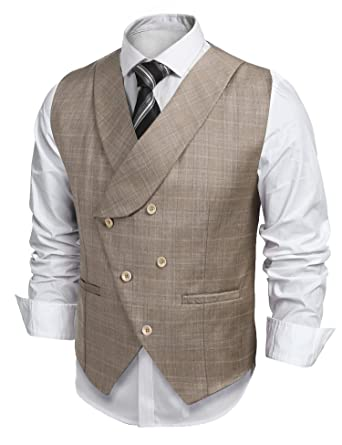 9fd4a408bf83 JINIDU Vintage Slim Fit Double-Breasted Plaid Suit Vest Dress ...