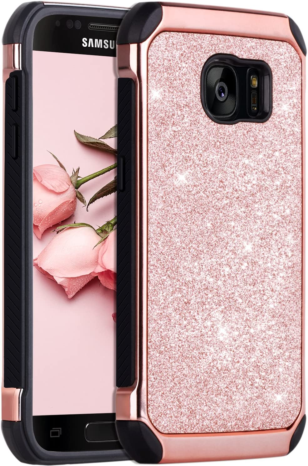 BENTOBEN Compatible with Galaxy S7 Case, Glitter Case for Samsung Galaxy S7, Rose Gold