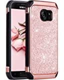Samsung Galaxy S7 Case, Samsung S7 Case, Galaxy S7 Case, BENTOBEN 2 in 1 Luxury Glitter Bling Hybrid Slim Hard PC and TPU Bumper Cover Laminated with Sparkly Shiny Faux Leather Chrome Shockproof Protective Phone Case for Samsung Galaxy S7 (G930), Rose Gold