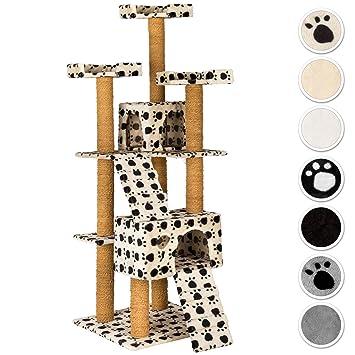 TecTake Rascador Árbol para gatos 169 cm de altura - disponible en diferentes colores - (beige con patitas | No. 402191): Amazon.es: Hogar