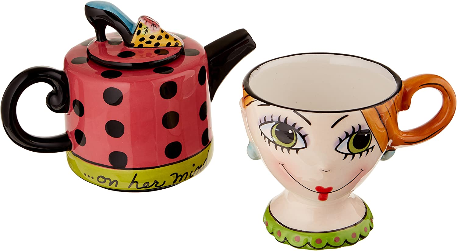 Appletree Design Shoes On Her Mind Tea for One Set, Teapot Rests on Top of Tea Cup, 8-Inch
