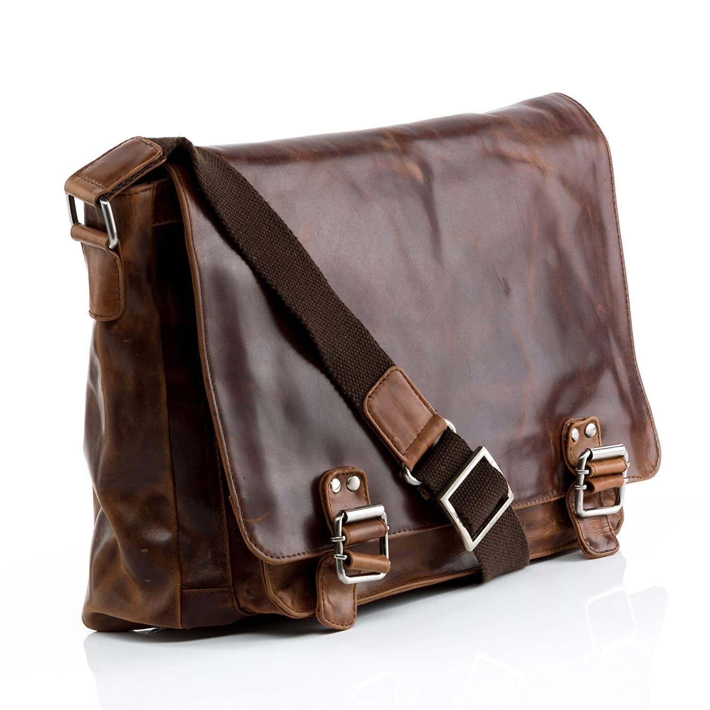 sac /à bandouli/ère appropri/é pour 15,4 grand STOKED sac de messenger NATHAN besace clair marron en cuir v/éritable