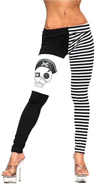 Women's Black and White Stripe & Pirate Print Spandex Leggings with One Leg Black & White Horizontal Strips and One Leg Sold Black with a Black and White Pirate Skull Print by Forum Novelties