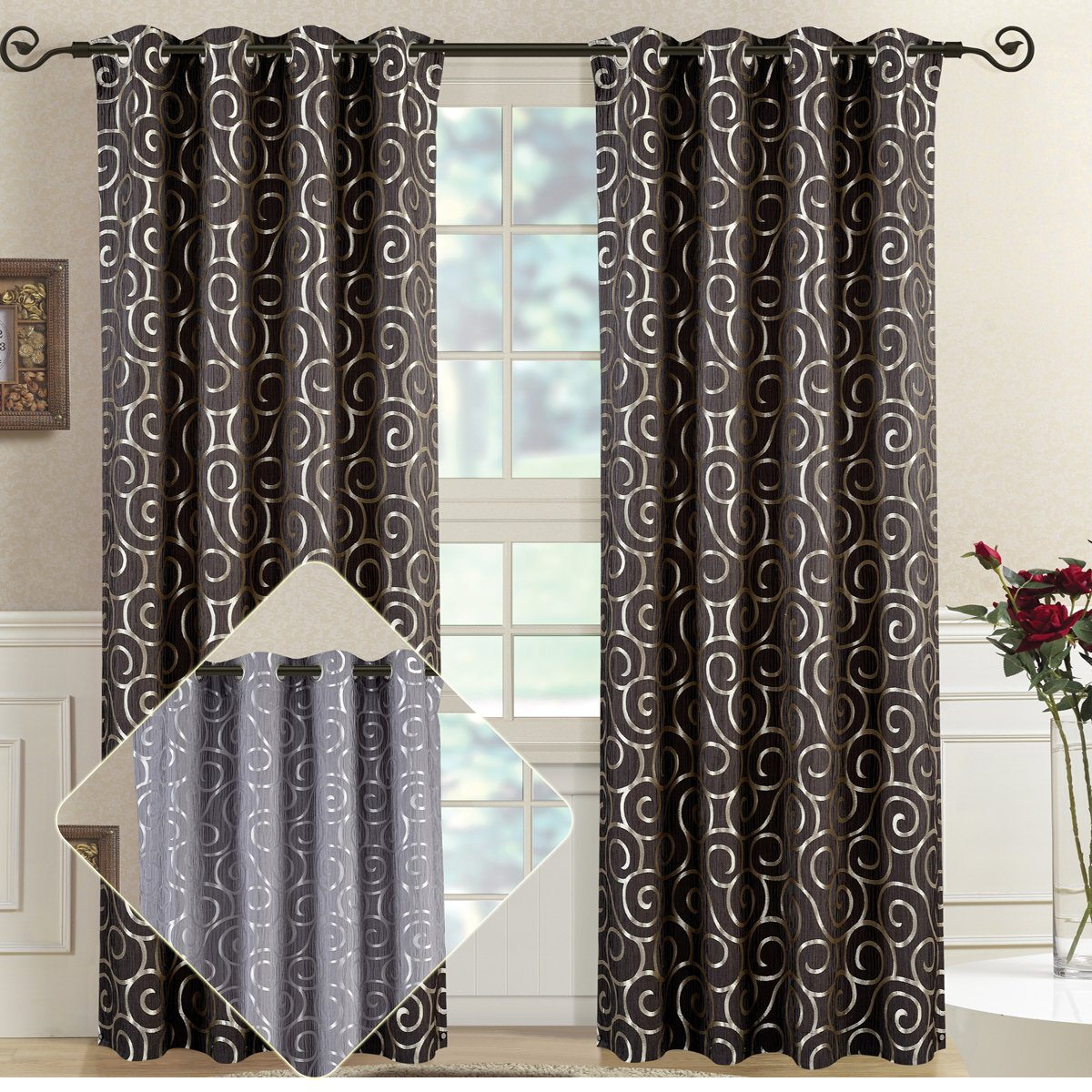 Tuscany Chocolate Top Grommet Abstract Jacquard Textured Window Curtain Panel, Set of 2 Panels, 104x96 Inches Pair, by Royal Hotel