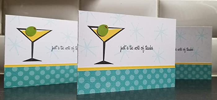 martini thank you note cards set of 5 martini stationery bridesmaid cards bachelorette