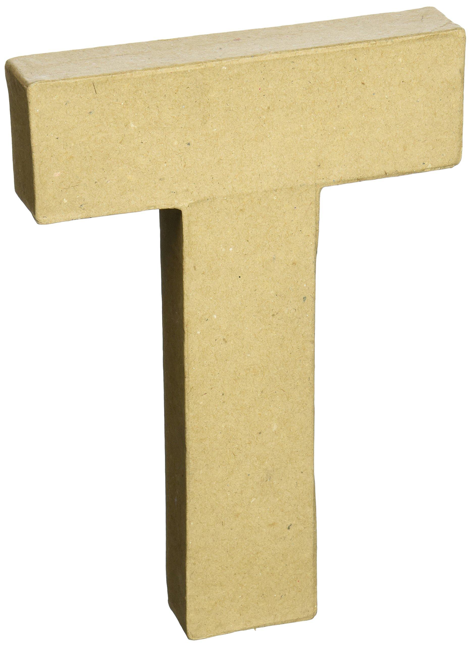 Darice Paper Mache Letter 8''X5-1/2''-Letter T