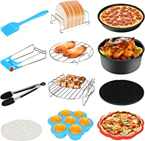 12PCS Air Fryer Accessories, BicycleStore 8 Inch Airfryer Kit Compatible for 4.2QT-6.8QT Air Fryers with Non-stick Cake Pan, Silicone Mat, Pizza Pan, Silicone Baking Cup, Skewer Rack