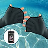 Professional neoprene gloves for swimming, diving, snorkeling, surfing and other water sport training activities and Phone Waterproof Case Bonus
