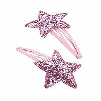 GIZZY Mädchen Zwei Stück pink glitter stars Snap Clip Set.